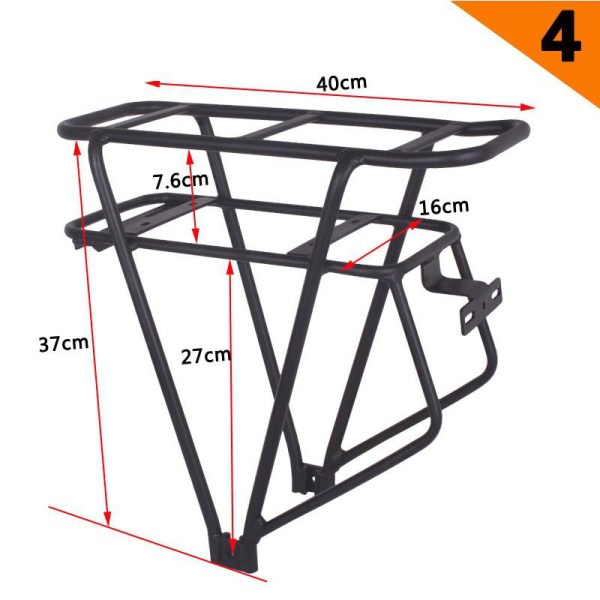 Ebike Battery Rear Carrier 26inch 28inch 700C Bicycle Luggage Rack Double Layer