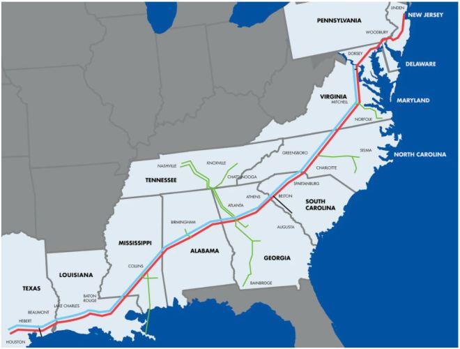 Mapak sítě potrubí společnosti Colonial Pipeline (kredit Colonial Pipeline)