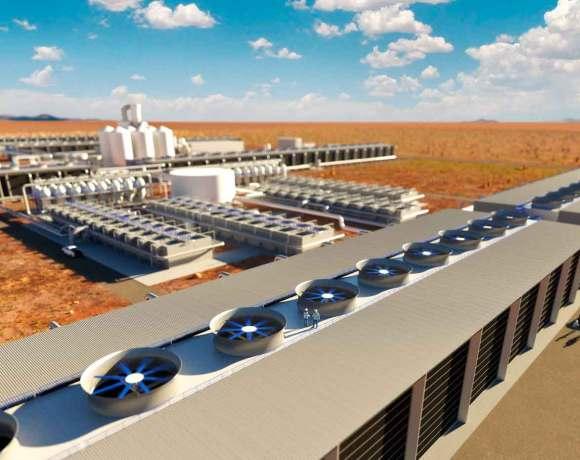 Takto nějak by mohl vypadat závod společnosti Carbon Enginnering na odstraňování CO2 z ovzduší v Texasu (kredit Carbon Engineering)