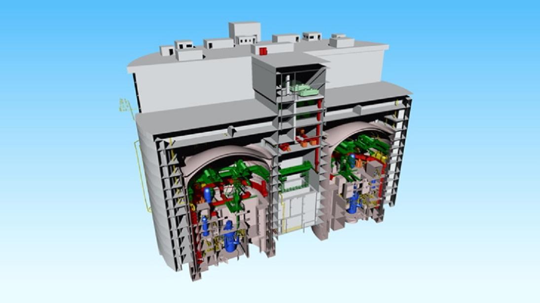 Ukázka malé elektrárny se dvěma reaktory ACP100 (foto CNNC)