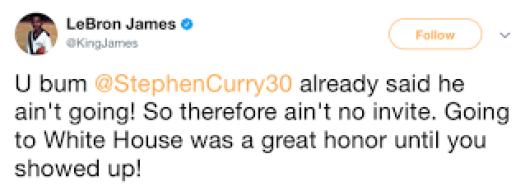 LeBron James Tweet About Steph Trump