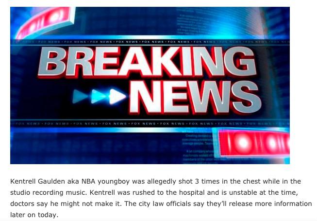 NBA YoungBoy Dead Kentrell Gaulden Shot 3 Times