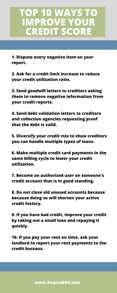 Top 10 Ways to Improve Your Credit Score Infographic