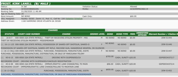 Kirk Frost Jr. Arrest Record