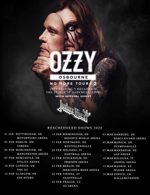 Ozzy Tour Dates 2020.Ozzy Osbourne Judas Priest Rescheduled 2020 European Tour