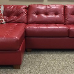 Ashley Red Leather Sofa Z Funkcja Spania Codziennego Materacem Sectional Empire Furniture Rental