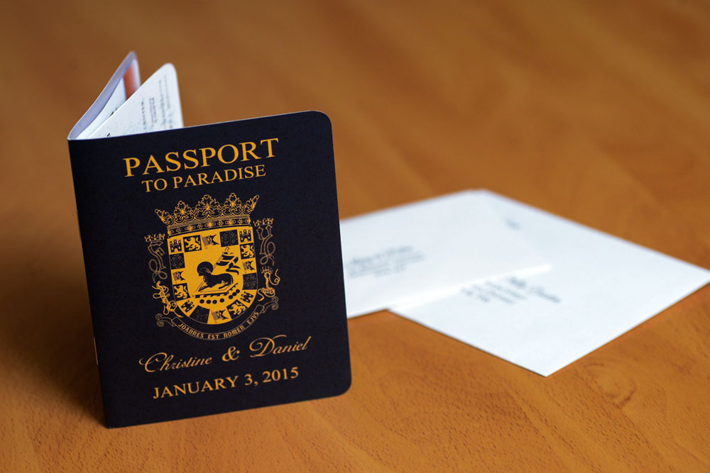 Passport wedding invitations to Terra Campestre Puerto