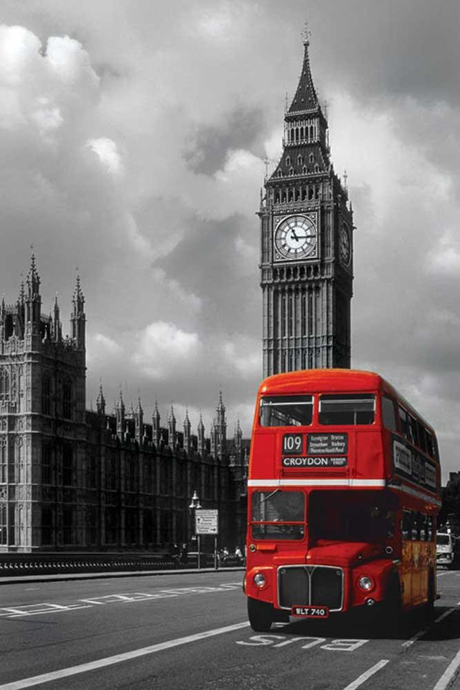 London  Red Bus Big ben colourlight  Poster  61x915