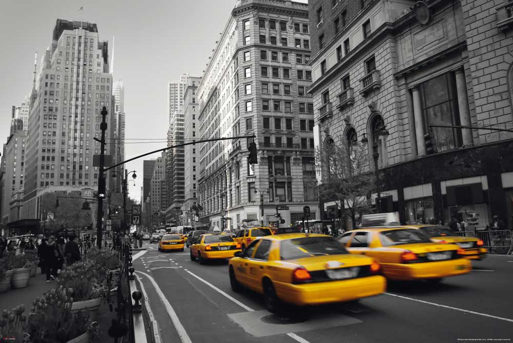New York  Yellow Cab Taxi colourlight 5th  Poster  915x61
