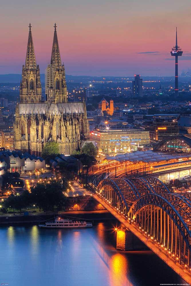 Deutsche Stdte  Klner Dom  Nacht  Poster  61x915