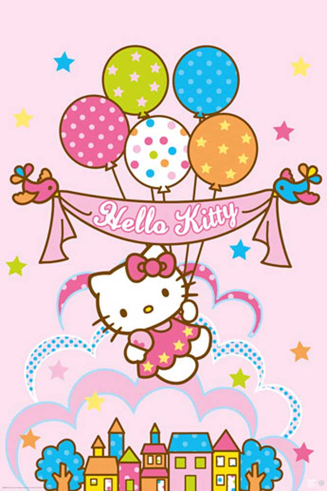 Classic 3d Wallpaper Hd Hello Kitty Balloons Version 2 Poster 61x91 5