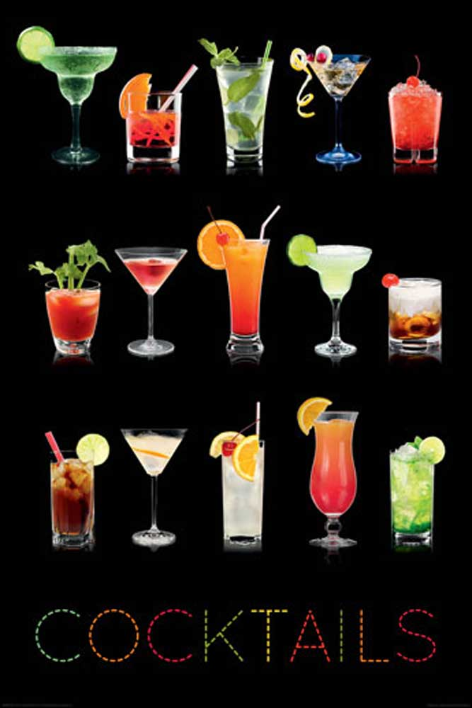 Cocktails  On Black  Poster  61x915