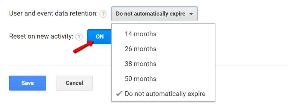Google Analytics Data Retention Settings for GDPR