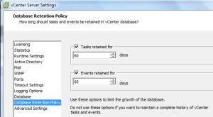 db retention policy settings