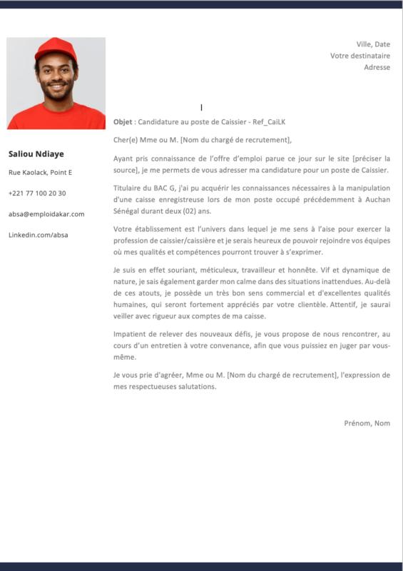 Exemple de lettre de motivation Caissier - Caissière (1)