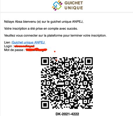 Inscription sur Emploi Jeunes Sénégal - Guichet Unique