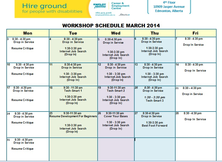 March Job Skills Training Workshop Schedule EmployAbilities