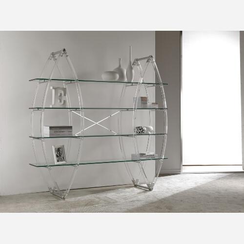 Libreria moderna in vetro trasparente e metacrilato Cristal Book SG119  Emporio3