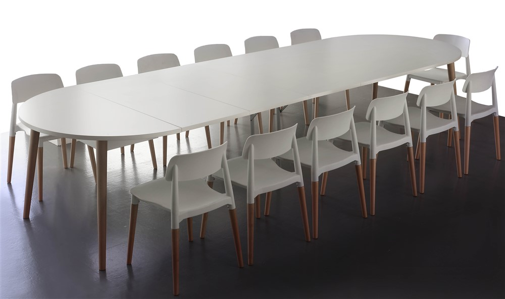tavolo allungabile rotondo in legno miletto allungato