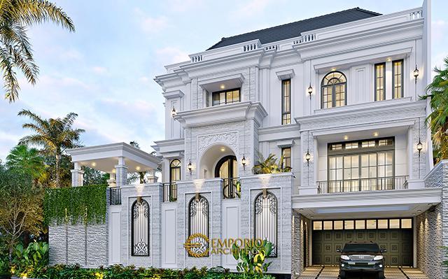 Desain Rumah Klasik 3 Lantai Bapak Judi di  Jakarta Utara