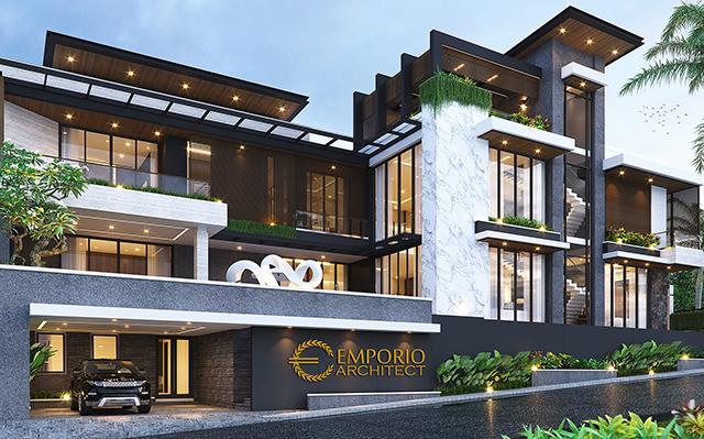 Desain Rumah Modern 4 Lantai Bapak Ali di  Batam