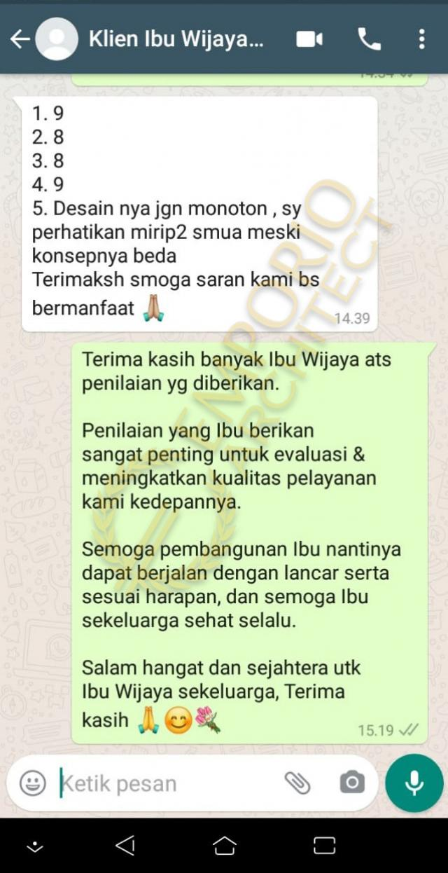 Testimonial Mrs. Wijaya Modern Industrial House 2 Floors Design - Yogyakarta