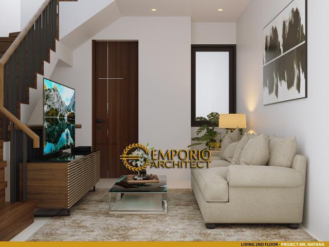 Desain Ruang Keluarga Lantai 2 Cluster Modern 3 Lantai Royale Indah Kapuk Cengkareng di Jakarta Barat