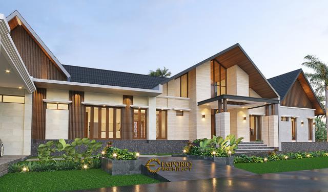 Desain Tampak Detail Depan Private Villa Lapaggalung Petta PajJawae Villa Bapak Andi Entong di Makassar, Sulawesi Selatan