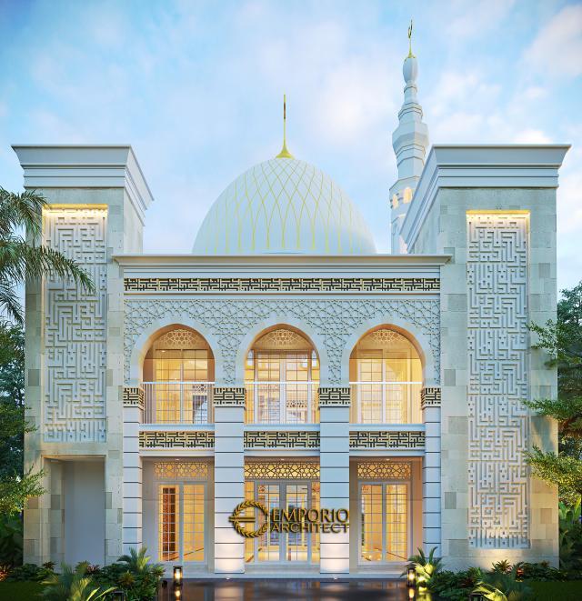 Desain Tampak Samping Masjid Classic 2 Lantai Riyadhuul Ulum di Jakarta