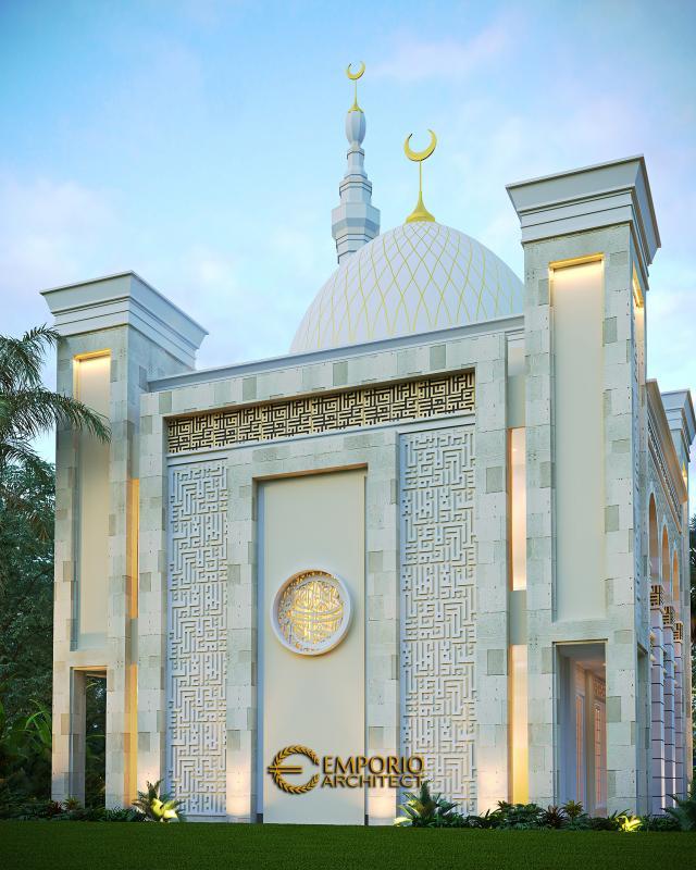 Desain Tampak Belakang Masjid Classic 2 Lantai Riyadhuul Ulum di Jakarta