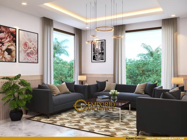 Desain Ruang Tunggu Najmina Beauty Care Modern 2 Lantai di Blora, Jawa Tengah