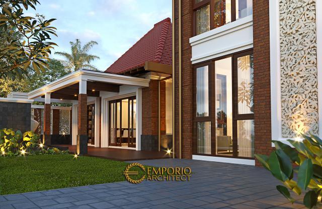 Desain Tampak Belakang Pendopo Klasik Jawa 2 Lantai Bapak Erwin di Cibubur, Jakarta Timur