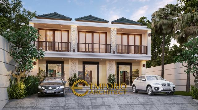 Desain Exterior Ruko Style Villa Bali 2 Lantai di Denpasar, Bali