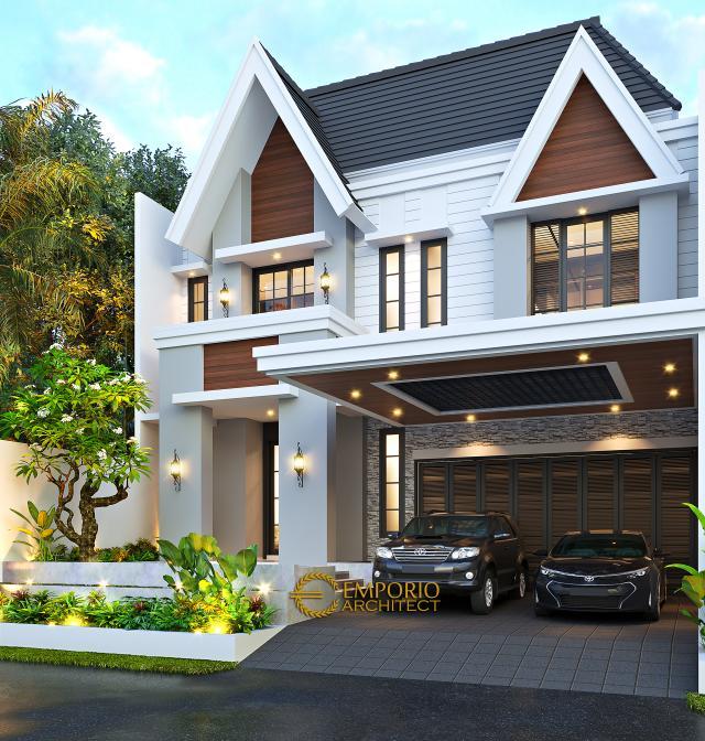 Desain Tampak Depan 2 Rumah American Classic 2.5 Lantai Bapak Bowo di Tegal, Jawa Tengah