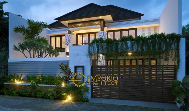 Desain Tampak Depan Rumah Villa Bali 2 Lantai Bapak Yulianto di Jakarta