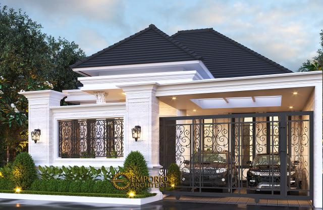 Desain Tampak Depan Dengan Pagar 1 Rumah Classic 1 Lantai Bapak Wandaniel di Sumatera Utara