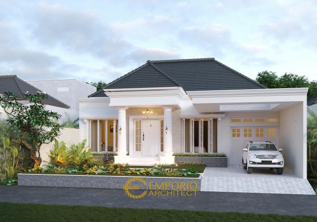 Desain Tampak Depan Tanpa Pagar Rumah Classic 1 Lantai Ibu Lellyta di Kutai Kartanegara, Kalimantan Timur