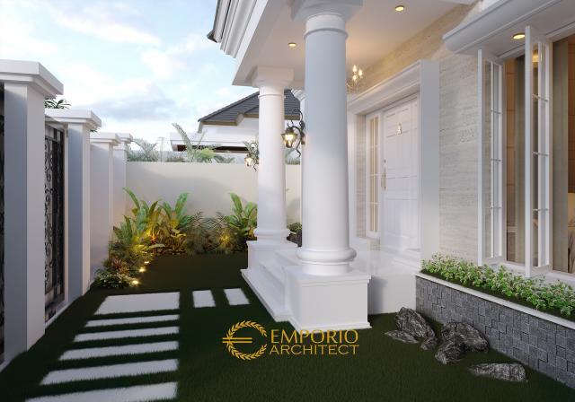 Desain Taman Depan Rumah Classic 1 Lantai Ibu Lellyta di Kutai Kartanegara, Kalimantan Timur
