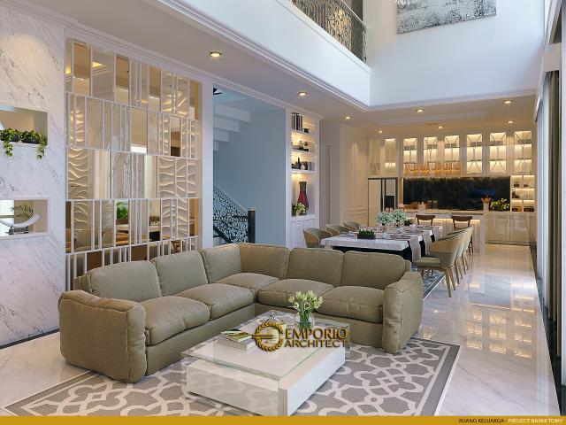 Desain Ruang Keluarga Rumah Classic 2 Lantai Bapak Tomy di Balikpapan, Kalimantan Timur