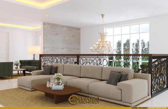 Desain Ruang Keluarga Rumah Classic 2 Lantai Bapak Anto di Bandung, Jawa Barat