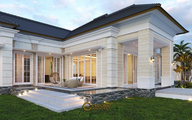 Desain Tampak Detail Depan Paviliun Classic 2 Lantai Mr. HJ di Manado, Sulawesi Utara