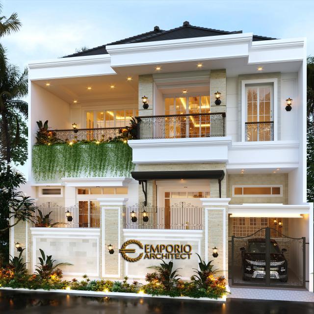 Desain Tampak Depan Dengan Pagar Rumah Classic 2 Lantai Ibu Winta di Jakarta