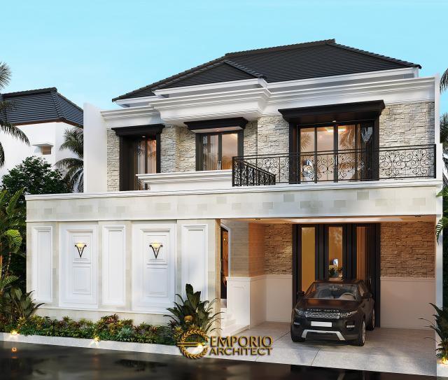 Desain Tampak Depan Dengan Pagar Rumah Classic 2 Lantai Bapak Borsin di Tangerang, Banten
