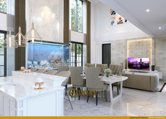 Desain Ruang Makan dan Pantry Rumah Classic 2 Lantai Bapak Made di Lampung