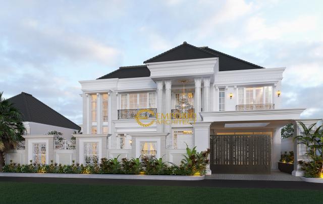 Desain Tampak Depan Dengan Pagar Rumah Classic 2 Lantai Bapak Boy di Kalimantan Barat