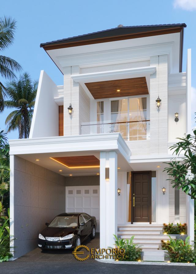 Desain Tampak Depan Tanpa Pagar Rumah Classic 2 Lantai Bapak Riko di Bekasi, Jawa Barat
