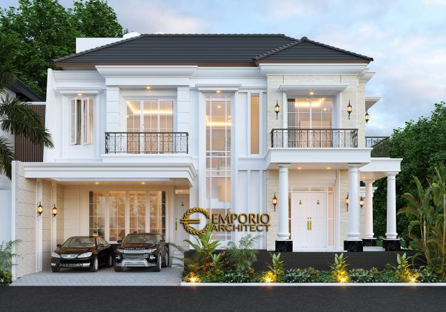 Desain Tampak Depan Rumah Classic 2 Lantai Bapak Ruddy di Jakarta Utara