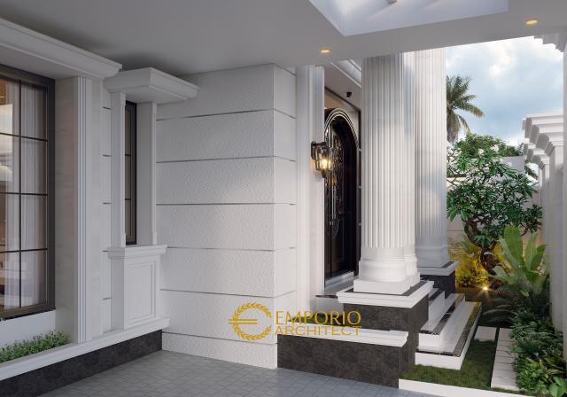 Desain Area Carport dan Taman Depan Rumah Classic 2 Lantai Ibu Alina di Badung, Bali