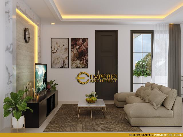 Desain Ruang Santai Rumah Classic 2.5 Lantai Ibu Gina di Bandung, Jawa Barat