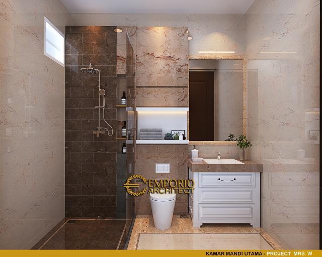Desain Kamar Mandi Utama Rumah Classic 3 Lantai Mrs W di Jakarta